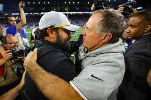 DETROIT, MI - SEPTEMBER 23: Head coach Matt Patricia of the Detroit Lions hugs Bill Belichick of the New England Patriots after a 26-10 win over his former team at Ford Field on September 23, 2018 in Detroit, Michigan.