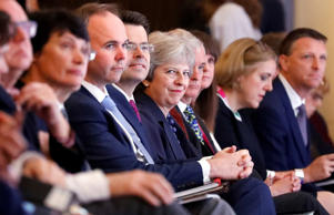 Britain's Prime Minister Theresa May attends the National Housing Summit in London