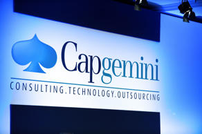 Picture taken on May 23, 2013 shows the logo of French computer consultancy group Capgemini  during the group general meeting in Paris.  AFP PHOTO  ERIC PIERMONT / AFP PHOTO / Eric PIERMONT        (Photo credit should read ERIC PIERMONT/AFP/Getty Images)