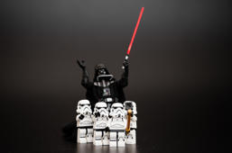Orvieto, Italy - January 11, 2016: Group o Star Wars Lego Stormtroopers mini figures take a selfie with Darth Vader.  Lego is a popular line of construction toys manufactured by the Lego Group