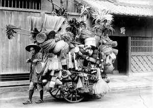 JAPAN - CIRCA 1919: Itinerant basket maker in Japan, in 1919. (Photo by Boyer/Roger Viollet/Getty Images)