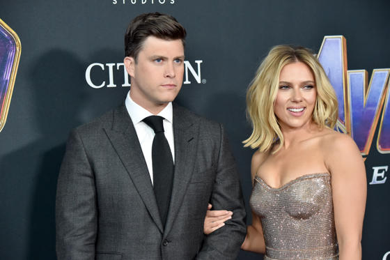 Slide 1 of 28: LOS ANGELES, CALIFORNIA - APRIL 22: Colin Jost and Scarlett Johansson attends the World Premiere of Walt Disney Studios Motion Pictures 'Avengers: Endgame' at Los Angeles Convention Center on April 22, 2019 in Los Angeles, California. (Photo by Jeff Kravitz/FilmMagic)