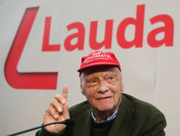 Niki Lauda addresses a news conference presenting his new airline Laudamotion in Vienna, Austria  March 16, 2018. REUTERS/Heinz-Peter Bader