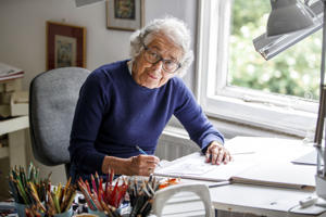 German-born British author and illustrator Judith Kerr, poses for a photograph at her home in west London on June 12, 2018.