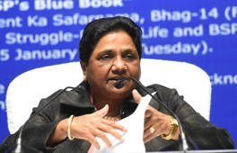 LUCKNOW, INDIA - JANUARY 15: Bahujan Samaj Party (BSP) Supremo Mayawati speaks to media during a press conference on her 63rd birthday on January 15, 2019 in Lucknow, India. Bahujan Samaj Party Supremo Mayawati on Tuesday appealed to workers of her party and the Samajwadi Party to forget their past differences to fight the upcoming Lok Sabha elections. (Photo by Subhankar Chakraborty/Hindustan Times via Getty Images)