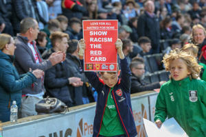 Kick racism out parade before the Sky Bet League 2 match between MK Dons and Mansfield Town at Stadium MK, Milton Keynes on Saturday 4th May 2019. (Photo by John Cripps/ MI News/NurPhoto via Getty Images)