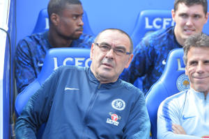 LEICESTER, ENGLAND - MAY 12: Chelsea Manager Maurizio Sarri during the Premier League match between Leicester City and Chelsea FC at The King Power Stadium on May 12, 2019 in Leicester, United Kingdom. (Photo by Plumb Images/Leicester City via Getty Images)