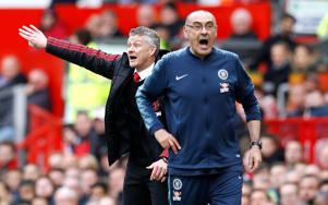 Manchester United manager Ole Gunnar Solskjaer (left) and Chelsea manager Maurizio Sarri gestures on the touchline during the Premier League match at Old Trafford, Manchester. (Photo by Martin Rickett/PA Images via Getty Images)