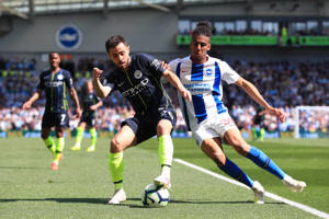 BRIGHTON, ENGLAND - MAY 12: Bernardo Silva of Manchester City battles for possession with Bernardo Fernandes da Silva of Brighton and Hove Albion during the Premier League match between Brighton & Hove Albion and Manchester City at American Express Community Stadium on May 12, 2019 in Brighton, United Kingdom. (Photo by Matt McNulty - Manchester City/Man City via Getty Images)