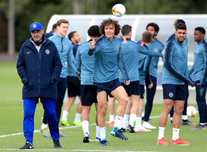 Chelsea manager Maurizio Sarri (left) and David Luiz (right) during a training session at CFC Training Ground, London. (Photo by Mike Egerton/PA Images via Getty Images)