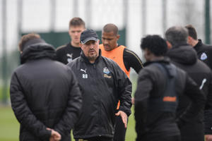 NEWCASTLE UPON TYNE, ENGLAND - APRIL 24: Newcastle United Manager Rafael Benitez talks to players and staff during the Newcastle United Training Session at the Newcastle United Training Centre on April 24, 2019 in Newcastle upon Tyne, England. (Photo by Serena Taylor/Newcastle United)