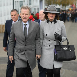 Cheltenham , United Kingdom - 13 March 2019; TV host Jeremy Kyle arrives with girlfriend Vicky Burton prior to racing on Day Two of the Cheltenham Racing Festival at Prestbury Park in Cheltenham, England. (Photo By David Fitzgerald/Sportsfile via Getty Images)