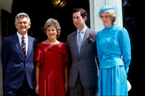1983: Prince Charles, Prince of Wales, and Diana, Princess of Wales, visit Australia, Canberra, Meeting Australian Prime Minister Bob Hawke and his wife Hazel, In front of Government House, 24th March 1983.
