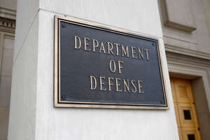 This photo shows a sign for the Department of Defense at the Pentagon, Friday, April 19, 2019, in Washington. (AP Photo/Patrick Semansky)