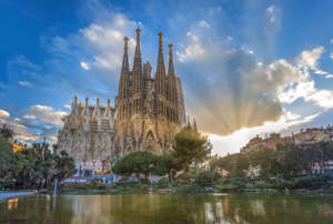 Barcelona City, Gaudi architect, Sagrada Familia Temple, spain, sunset (Photo by: Prisma by Dukas/UIG via Getty Images)