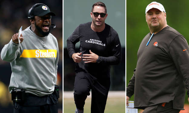 Slide 1 of 8: (Left to right) Mike Tomlin of the Pittsburgh Steelers, Arizona Cardinals head coach Kliff Kingsbury and Head coach Freddie Kitchens of the Cleveland Browns