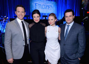 LOS ANGELES, CA - FEBRUARY 09:  (L-R) Actors Santino Fontana, Idina Menzel, Kristen Bell and Josh Gad attend The Celebration Of The Music Of Disney's 'Frozen'. FOR THE FIRST TIME IN FOREVER, the music of Disney's 'Frozen' was celebrated with live performances at Los Angeles Vibrato Grill Jazz club tonight. Kristen Bell (voice of Anna), Idina Menzel (voice of Elsa), Josh Gad (voice of Olaf) and Santino Fontana (voice of Hans) took the stage, accompanied by a live orchestra conducted by David Metzger, to perform songs from the Oscar®-nominated, Golden Globe®-winning film, including the Oscar-nominated 'Let It Go' on February 9, 2014 in Los Angeles, California.The packed house included songwriters Kristen Anderson-Lopez and Robert Lopez, composer Christophe Beck, directors Chris Buck and Jennifer Lee, producer Peter Del Vecho and executive producer John Lasseter, in addition to a host of celebrity guests. In theaters since Nov. 27, 2013, 'Frozen' has earned more than $900 million worldwide. The 'Frozen' soundtrack has held the No. 1 position on the Billboard 200 chart for four non-consecutive weeks, and is the longest-running No. 1 film soundtrack since 2003. Worldwide, the album has sold more 1 million units and 3.4 million tracks. At iTunes, the album has peaked at No. 1 in more than 30 countries.  (Photo by Alberto E. Rodriguez/Getty Images for Disney)
