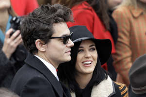 "FILE - In this Jan. 21, 2013, file photo, John Mayer and Katy Perry arrive at the ceremonial swearing-in for President Barack Obama at the U.S. Capitol during the 57th Presidential Inauguration in Washington. Perry told The New York Times for an article published online March 23, 2017, that his new single, ""Still Feel Like Your Man,"" is about Perry. (AP Photo/J. Scott Applewhite, File)"