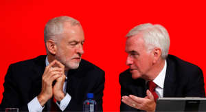 The Labour Party's shadow Chancellor of the Exchequer John McDonnell speaks to party leader Jeremy Corbyn