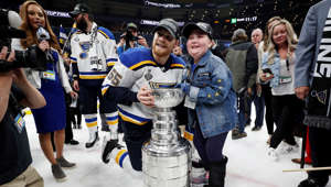 BOSTON, MASSACHUSETTS - JUNE 12:  Colton Parayko #55 of the St. Louis Blues and Laila Anderson celebrate with the Stanley Cup after defeating the Boston Bruins in Game Seven to win the 2019 NHL Stanley Cup Final at TD Garden on June 12, 2019 in Boston, Massachusetts. (Photo by Patrick Smith/Getty Images)