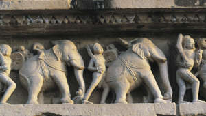 Elephants, relief on the base of Lakshmana temple, Khajuraho group of Monuments (UNESCO World Heritage List, 1986), Madhya Pradesh, India, 10th century.