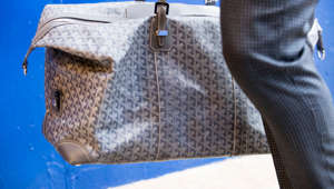 ORCHARD PARK, NY - NOVEMBER 12:  Detail of Goyard bag carried by Tyrod Taylor #5 of the Buffalo Bills as he walks into New Era Field before the game between the Buffalo Bills and the New Orleans Saints on November 12, 2017 in Orchard Park, New York. New Orleans defeats Buffalo 47-10.  (Photo by Brett Carlsen/Getty Images)