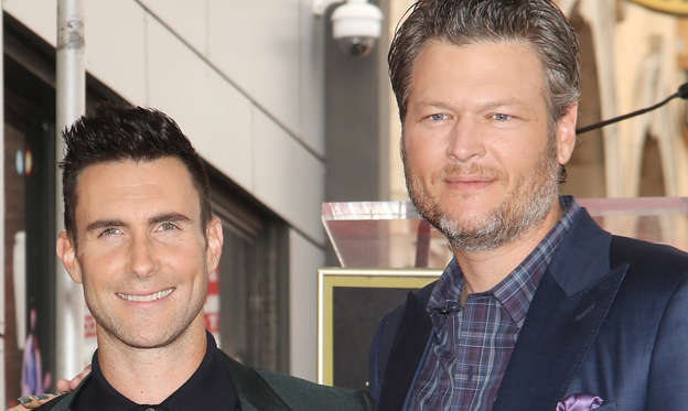 Slide 1 of 5: Adam Levine and Blake Shelton attend the ceremony honoring Adam Levine with a Star on The Hollywood Walk of Fame held on February 10, 2017 in Hollywood.