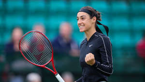NOTTINGHAM, ENGLAND - JUNE 16: Caroline Garcia of France celebrates victory over Jennifer Brady of the USA during day seven of the Nature Valley Open at Nottingham Tennis Centre on June 16, 2019 in Nottingham, United Kingdom. (Photo by James Wilson/MB Media/Getty Images)