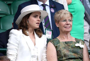 Emma Watson and Lady Rylance in the royal box on centre court on day twelve of the Wimbledon Championships at the All England Lawn Tennis and Croquet Club, Wimbledon. (Photo by Jonathan Brady/PA Images via Getty Images)