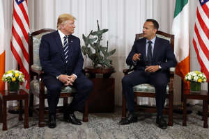 President Donald Trump meets with Irish Prime Minister Leo Varadkar, Wednesday, June 5, 2019, in Shannon, Ireland. Trump is on his first visit to the country as president.