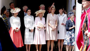 Britain's Sophie Countess of Wessex, Queen Letizia of Spain, Britain's Camilla, Duchess of Cornwall, Queen Maxima of the Netherlands and Britain's Catherine, Duchess of Cambridge watch the Order of the Garter Service at Windsor Castle, Britain June 17, 2019. Steve Parsons/Pool via REUTERS