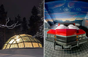 Glass Igloos at Kakslauttanen Arctic Resort in Saariselka, Finland. (Photo by: VW PICS/Universal Images Group via Getty Images); The V8 Hotel features beds made from real cars or motoring themed rooms. V8 Hotel, Stuttgart, Germany.