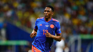 SALVADOR, BRAZIL - JUNE 15: Yerry Mina of Colombia in action during the Copa America Brazil 2019 group B match between Argentina and Colombia at Arena Fonte Nova on June 15, 2019 in Salvador, Brazil. (Photo by Chris Brunskill/Fantasista/Getty Images)