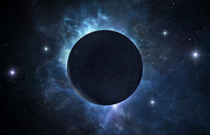 A picture of dark deserted planet located somewhere in deep space