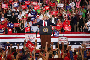 ORLANDO, FLORIDA - JUNE 18: U.S. President Donald Trump speaks during his rally where he announced his candidacy for a second presidential term at the Amway Center on June 18, 2019 in Orlando, Florida.  President Trump is set to run against a wide open Democratic field of candidates. (Photo by Joe Raedle/Getty Images)