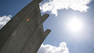 07 May 2019, Berlin: The air bridge monument in Berlin-Tempelhof in sunshine. Photo: Sven Braun/dpa (Photo by Sven Braun/picture alliance via Getty Images)