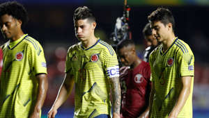 Colombia's James Rodriguez, center, gestures as he leaves the field at the end first time of a Copa America Group B soccer match against Qatar at the Morumbi stadium in Sao Paulo, Brazil, Wednesday, June 19, 2019. (AP Photo/Victor R. Caivano)