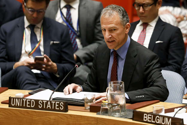 Slide 3 of 50: Acting U.S. Ambassador to the United Nations Jonathan Cohen, addresses the U.N. Security Council briefing on implementation of the resolution that endorsed the Iran nuclear deal at the United Nations headquarters in New York, U.S., June 26.