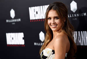 "Jessica Alba, a cast member in ""Mechanic: Resurrection,"" poses at the premiere of the film at the Arclight Hollywood on Monday, Aug. 22, 2016, in Los Angeles. (Photo by Chris Pizzello/Invision/AP)"