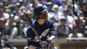 SAN DIEGO, CA - JUNE 19: Christian Yelich #22 of the Milwaukee Brewers hits a solo home run during the fifth inning of a baseball game against the San Diego Padres at Petco Park June 19, 2019 in San Diego, California.  (Photo by Denis Poroy/Getty Images)