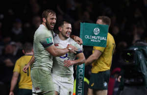 LONDON, ENGLAND - NOVEMBER 18:  Danny Care of England celebrates with team mate Chris Robshaw (L) after scoring a last minute try during the Old Mutual Wealth Series international match between England and Australia at Twickenham Stadium on November 18, 2017 in London, England.  (Photo by David Rogers - RFU/The RFU Collection via Getty Images)