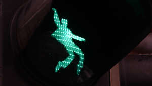 A pedestrian trafic light customized with a dancing Elvis Presley is pictured in Friedberg, western Germany, on December 7, 2018. - Cross the road, it's now or never. Or that's what residents in the German town of Friedberg may start humming when their traffic light jumps to green to reveal a hip-swivelling Elvis Presley. (Photo by Yann Schreiber / AFP)        (Photo credit should read YANN SCHREIBER/AFP/Getty Images)