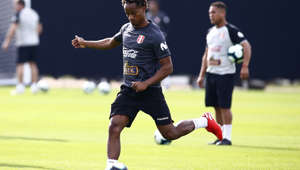 Peru's Andre Carrillo strike that ball during a national soccer team practice in Porto Alegre, Brazil, Thursday, June 13, 2019. Peru will play it's first Copa America soccer match against Venezuela on June 15. (AP Photo/Edison Vara)