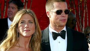 LOS ANGELES - SEPTEMBER 19:  Actress Jennifer Aniston and Actor/husband Brad Pitt attend the 56th Annual Primetime Emmy Awards on September 19, 2004 at the Shrine Auditorium, in Los Angeles, California. (Photo by Kevin Winter/Getty Images)