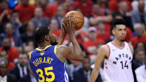 TORONTO, CANADA - JUNE 10: Kevin Durant #35 of the Golden State Warriors shoots the ball Toronto Raptors during Game Five of the NBA Finals on June 10, 2019 at Scotiabank Arena in Toronto, Ontario, Canada. NOTE TO USER: User expressly acknowledges and agrees that, by downloading and/or using this photograph, user is consenting to the terms and conditions of the Getty Images License Agreement. Mandatory Copyright Notice: Copyright 2019 NBAE (Photo by Joe Murphy/NBAE via Getty Images)
