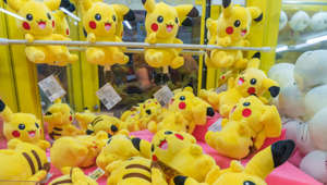 Pokemon crane game which people play to win soft toy Pikachu on November 11, 2016 in Taiwan