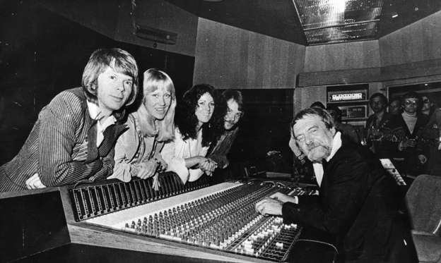 Slide 1 of 36: 23rd May 1978: Swedish pop group Abba and their manager Stikkan Andersson at the group's newly completed, custom-built recording studio in Stockholm. (Photo by Keystone/Getty Images)