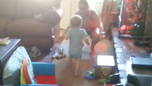 Baby has funny excuse for wanting mom's hugs
