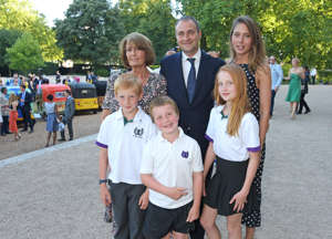 L to R - Lady Annabel Goldsmith, Ben Goldsmith and Jemima Jones pose with Ben's children at the Quintessentially Foundation and Elephant Family's Royal Rickshaw Auction presented by Selfridges at Lancaster House on June 30, 2015 in London, England.