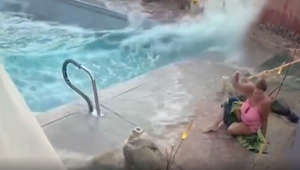 Woman's pool turns into tsunami during California earthquake